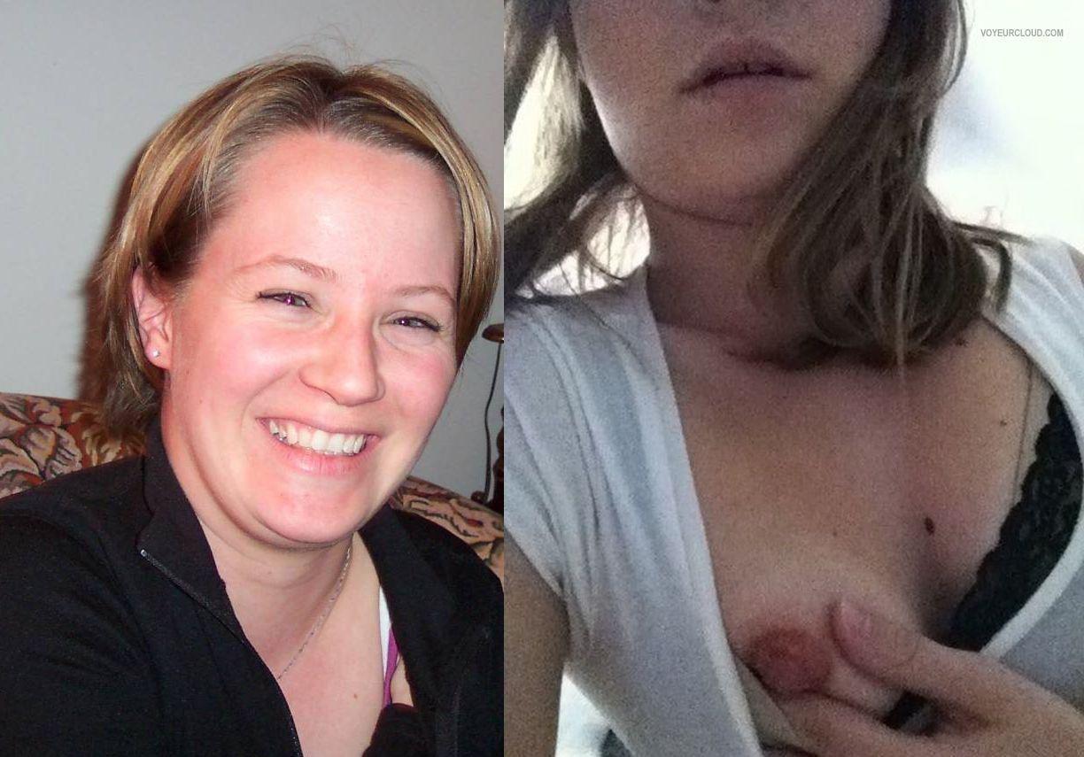 Tit Flash: Wife's Medium Tits (Selfie) - Topless Val from Canada